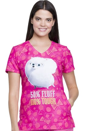 Tooniforms by Cherokee Women's V-Neck Pets Print Scrub Top