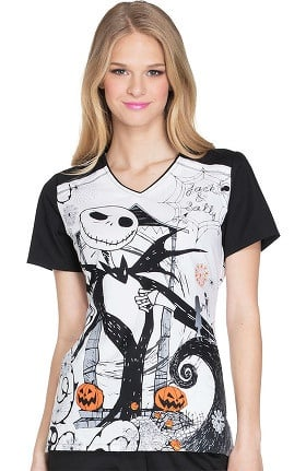 Tooniforms by Cherokee Women's V-Neck Nightmare Before Christmas Halloween Print Scrub Top