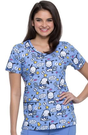 Tooniforms by Cherokee Women's V-Neck Jog To The Rhythm Print Scrub Top