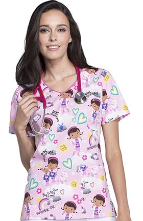 Tooniforms by Cherokee Women's V-Neck Doc McStuffins Print Scrub Top