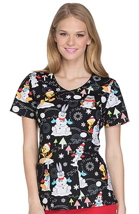 Tooniforms by Cherokee Women's V-Neck Looney Toons Winter Print Scrub Top
