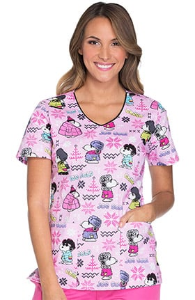 Tooniforms by Cherokee Women's V-Neck Snoopy Winter Print Scrub Top