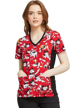 Clearance Tooniforms by Cherokee Women's V-Neck Mickey Mouse Print Scrub Top