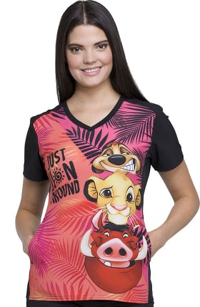 Clearance Tooniforms by Cherokee Women's V-Neck Contrast Back Lion King Print Scrub Top