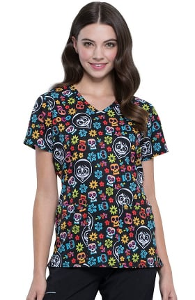 Tooniforms by Cherokee Women's V-Neck Remember Me Print Scrub Top