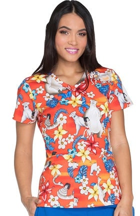 Tooniforms by Cherokee Women's V-Neck Jungle Book Print Scrub Top