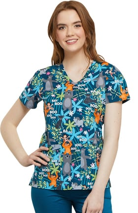 Clearance Tooniforms by Cherokee Women's V-Neck The Jungle Book Print Scrub Top