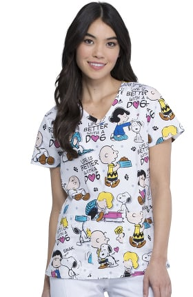 Tooniforms by Cherokee Women's Better With A Dog Print Scrub Top