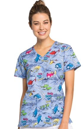 Clearance Tooniforms by Cherokee Women's V-Neck Dr. Seuss Print Scrub Top