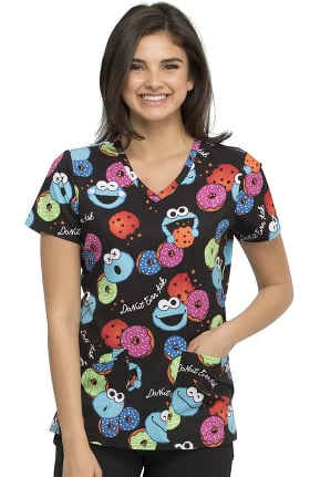 Tooniforms by Cherokee Women's Cookie Mix Print Scrub Top