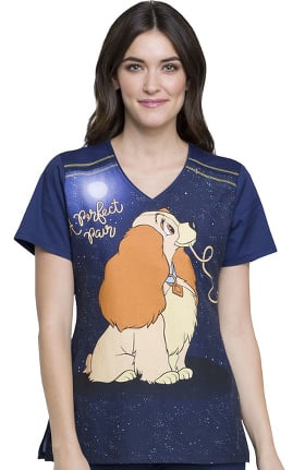 Tooniforms by Cherokee Women's V-Neck Lady and the Tramp Print Scrub Top
