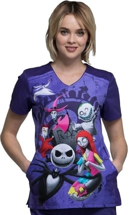 Tooniforms by Cherokee Women's V-Neck Nightmare Before Christmas Print Scrub Top
