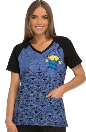 Tooniforms by Cherokee Women's V-Neck Toy Story Print Scrub Top