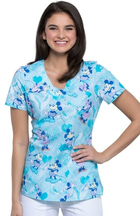 Tooniforms by Cherokee Women's V-Neck Plaid About You Print Scrub Top