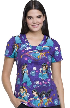 Tooniforms by Cherokee Women's V-Neck Aladdin Print Scrub Top