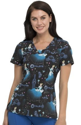 Tooniforms by Cherokee Women's Stroke Of Midnight Print Scrub Top