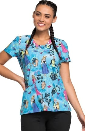 Tooniforms by Cherokee Women's V-Neck Sleeping Beauty Print Scrub Top