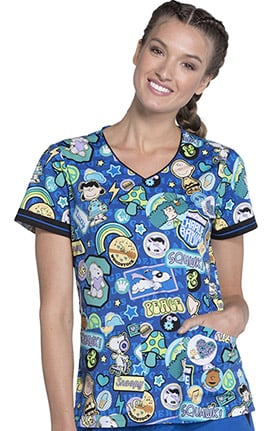 Tooniforms by Cherokee Women's V-Neck Peanuts Print Scrub Top