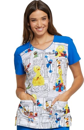 Clearance Tooniforms by Cherokee Women's V-Neck Sesame Street Print Scrub Top