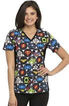 Tooniforms by Cherokee Women's DC Comics Print Scrub Top