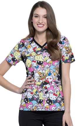 Tooniforms by Cherokee Women's V-Neck Gangs All Here Print Scrub Top