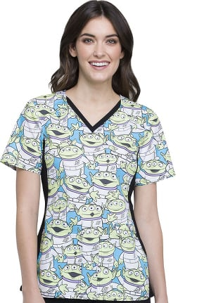 Tooniforms by Cherokee Women's V-Neck Knit Panel Toy Story Print Scrub Top