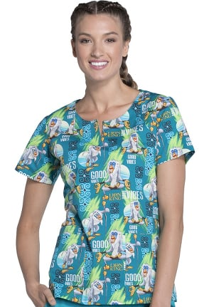 Tooniforms by Cherokee Women's Round Neck Lion King Print Scrub Top