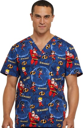 Tooniforms by Cherokee Men's V-Neck The Incredibles Print Scrub Top