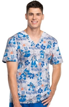 Clearance Tooniforms by Cherokee Men's V-Neck Lilo & Stitch Print Scrub Top