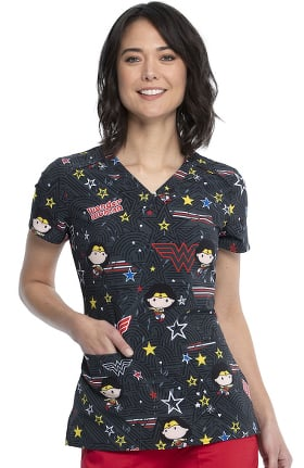 Tooniforms by Cherokee Women's Be Heroic Print Scrub Top