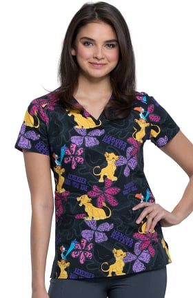 Tooniforms by Cherokee Women's V-Neck Simba Remembers Print Scrub Top