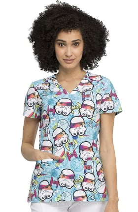 Tooniforms by Cherokee Women's Empire Troopers Print Scrub Top