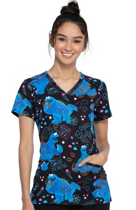 Clearance Tooniforms by Cherokee Women's Nom Nom Print Scrub Top