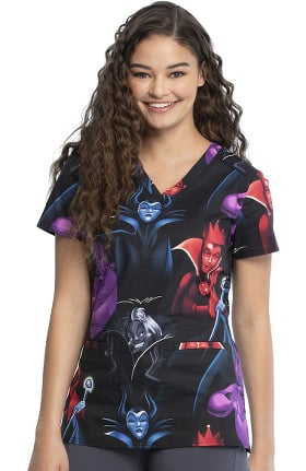Tooniforms by Cherokee Women's Villains Club Print Scrub Top