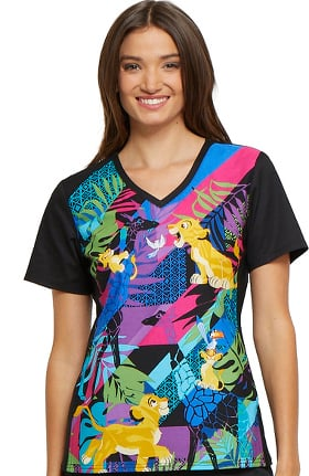 Tooniforms by Cherokee Women's V-Neck Knit Panel Lion King Print Scrub Top