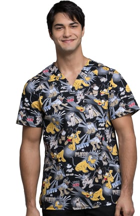 Clearance Tooniforms by Cherokee Men's V-Neck Pluto Print Scrub Top