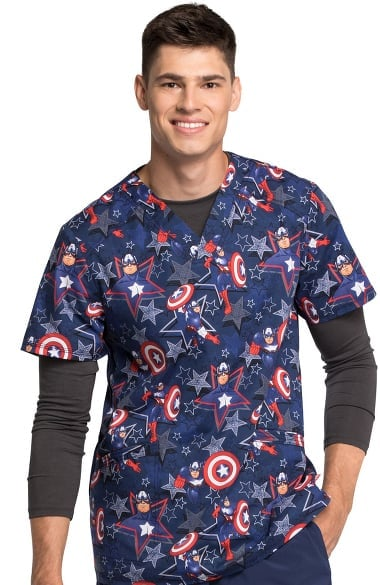 e0a552951ec Tooniforms by Cherokee Men's V-Neck Captain America Print Scrub Top
