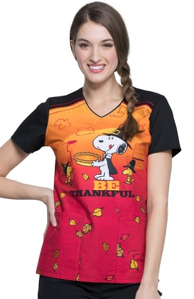 Clearance Tooniforms by Cherokee Women's V-Neck Snoopy Thanksgiving Print Scrub Top