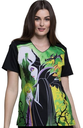 Tooniforms by Cherokee Women's V-Neck Maleficent Print Scrub Top