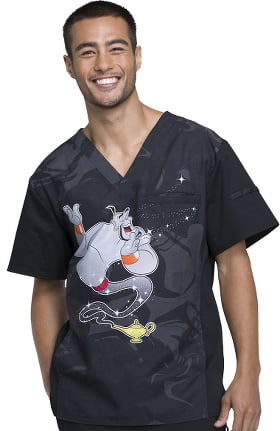 Clearance Tooniforms by Cherokee Men's V-Neck Aladdin Print Scrub Top