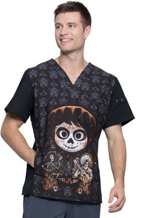 Clearance Tooniforms by Cherokee Men's V-Neck Disney Pixar Coco Print Scrub Top