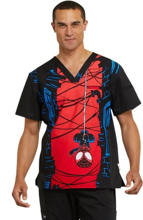Tooniforms by Cherokee Men's V-Neck Marvel Print Scrub Top