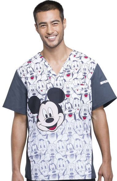 766d950d113 Tooniforms by Cherokee Men's V-Neck Mickey Mouse Print Scrub Top ...