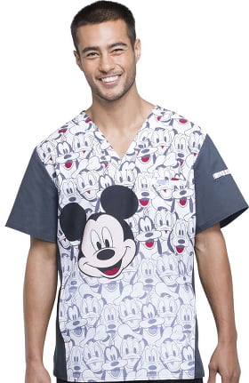 Tooniforms by Cherokee Men's V-Neck Mickey Mouse Print Scrub Top