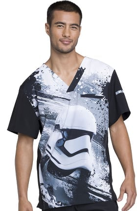 Tooniforms by Cherokee Men's V-Neck Star Wars Print Scrub Top