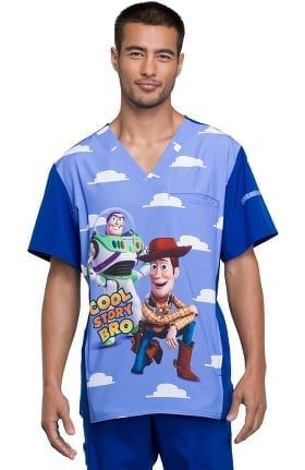 Clearance Tooniforms by Cherokee Men's V-Neck Toy Story Print Scrub Top