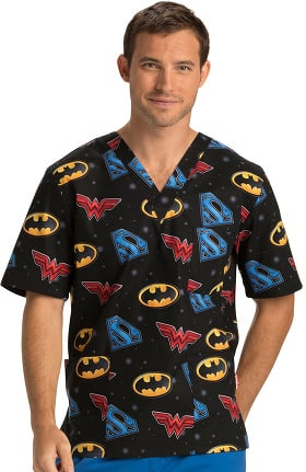 Tooniforms by Cherokee Unisex V-Neck Justice League Print Scrub Top