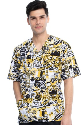 Tooniforms by Cherokee Unisex Iconic Mayhem Print Scrub Top