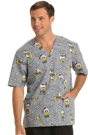 Clearance Tooniforms by Cherokee Unisex V-Neck Donald Duck Print Scrub Top