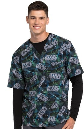 Tooniforms by Cherokee Unisex V-Neck Star Wars Print Scrub Top